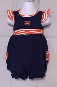 TIGERS APPLIQUE INFANT TODDLER GIRL'S ROMPER AUBURN DETROIT BLUE ORANGE RUFFLED