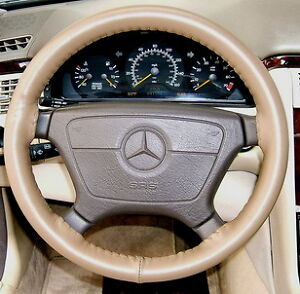 Oak leather steering wheel cover 1998 2009 mercedes for Mercedes benz steering wheel cover