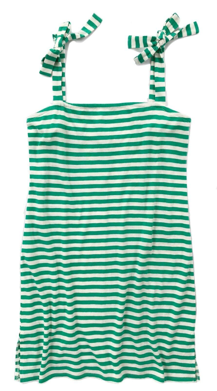 J Crew - Womens XXS - NWT - Green Ivory Beach Striped Tie-Shoulder Tank Dress
