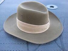 Ex!! Vintage 40s 50s? 7 1/8 AKUBRA FINE FUR FELT AUSSIE ARMY SLOUCH HAT - worn?