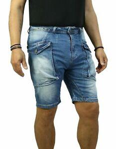 Bermuda-Uomo-Jeans-Cargo-Pantalone-corto-Shorts-Casual-Pantaloncino-Tasconi
