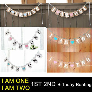 I AM ONE I AM TWO Boy Girl 1st 2nd Birthday Party Bunting Banner Garland Decor