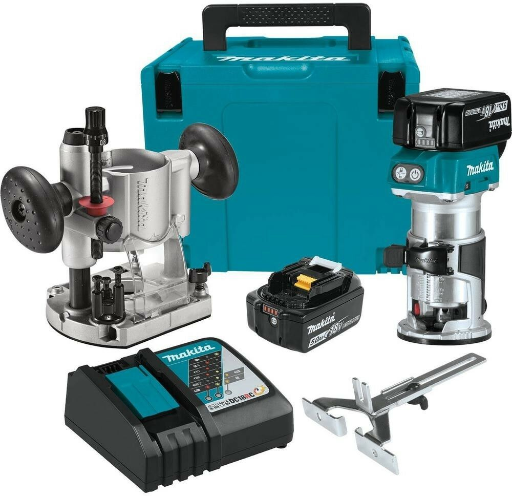 MAKITA Compact Router Kit 5.0 Ah 18-Volt LXT Lithium-Ion Brushless Cordless