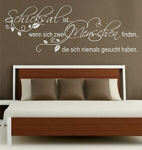 wandtattoo spr che schicksal ist zwei menschen blumenranke schlafzimmer 6n ebay. Black Bedroom Furniture Sets. Home Design Ideas