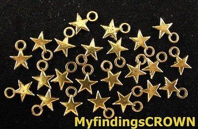 300 Pcs Antiqued gold tiny STAR drops 11x8mm FC790