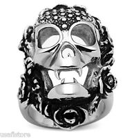 Vampire Skull With Flowers Silver Stainless Steel Mens Ring