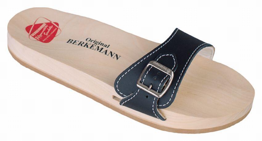 Berkemann Original-Sandale 0100-900, Holz-Sandale Leder schwarz Gr. 3-10,5