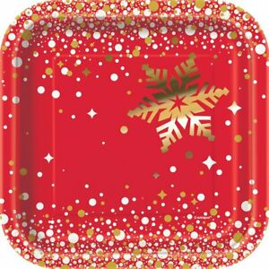 Vajilla De Navidad-Invierno País De Las Maravillas-Paquete de 8 Tazas de fiesta de papel de oro