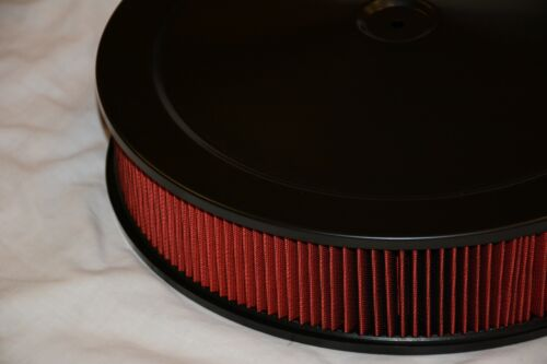 14 x 3 Black Round Red Washable Air Cleaner Filter Street Rod Muscle chevy ford