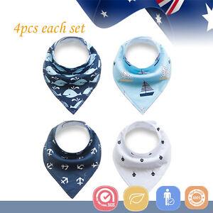 4pcs-Baby-Bibs-Pure-Cotton-Bandana-Feeding-Kid-Toddler-Unisex-Ocean-Blue