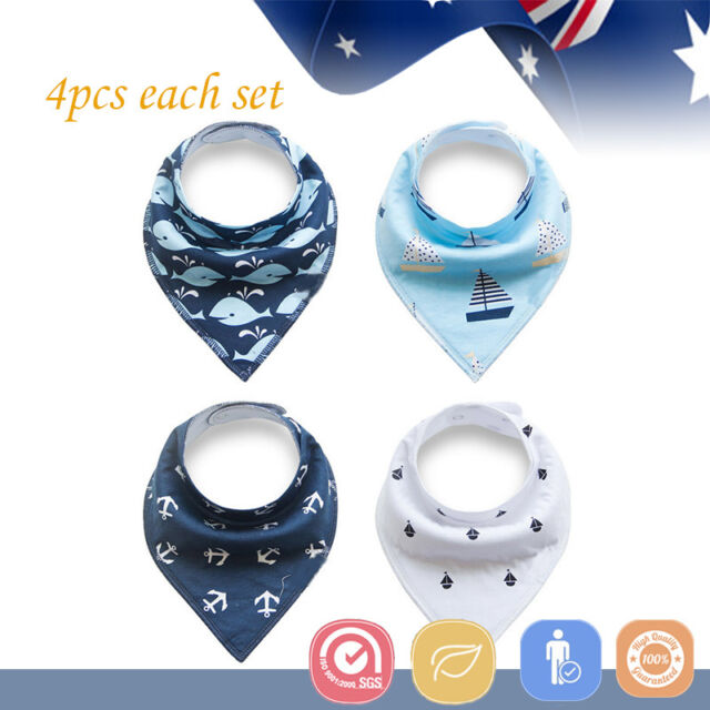 4pcs Baby Bibs Pure Cotton Bandana Feeding Kid Toddler Unisex Ocean Blue