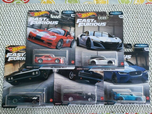 HOT WHEELS 2020 FAST & FURIOUS PREMIUM FULL FORCE COMPLETE SET OF 5 CARS