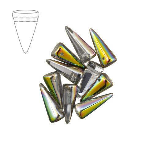Czech glass spike beads 7mm x 17mm crystal vitrail pack de 10 (M40/2)