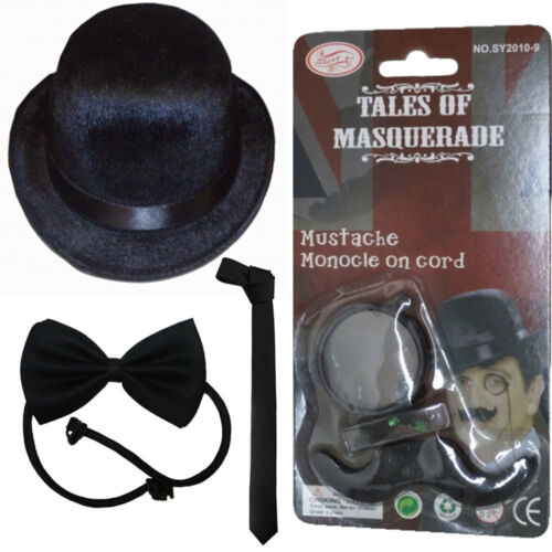 Unisex Adult Charlie Chaplin Fancy Dress Accessories Gangster Black Tie, Hat