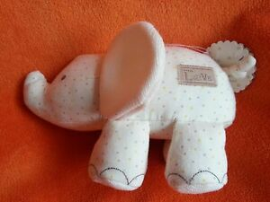 """Marks and Spencer M&S Cream Elephant Soft Toy Baby Comforter 9"""" With love Jersey"""