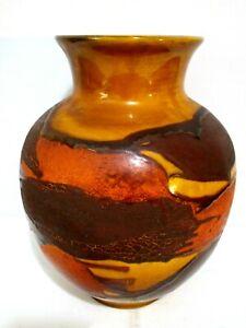 Vintage-Royal-Haeger-Earth-Wrap-Pottery-Vase-Mid-Century-9-034-Tall-Brown-Rust