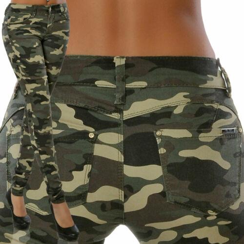 Damen High-Waist Jeans Camouflage Hose Push-Up Röhrenjeans Hoher Bund Army Armee