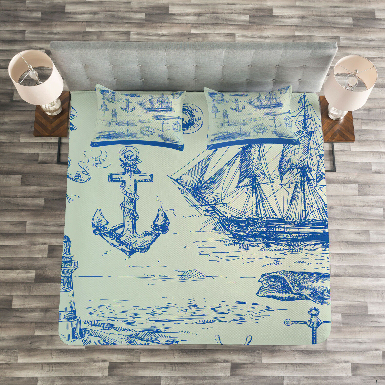 Fishing Quilted Bedspread & Pillow Shams Set, Whale Wheel Sketch Print