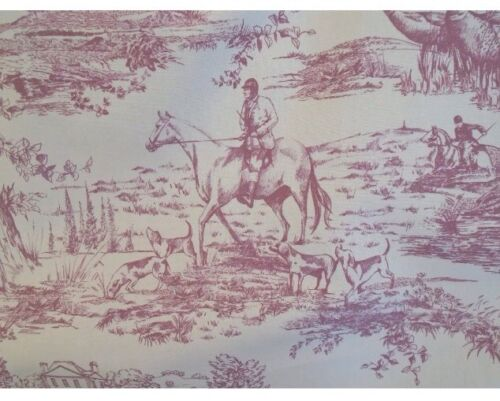 Per Metre  The Hunt Country Raspberry Toile De Jouy Cotton Curtain Fabric
