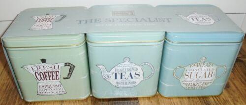 Coffee Tea Sugar Caddies by Martin Wiscombe Retro Storage Tins