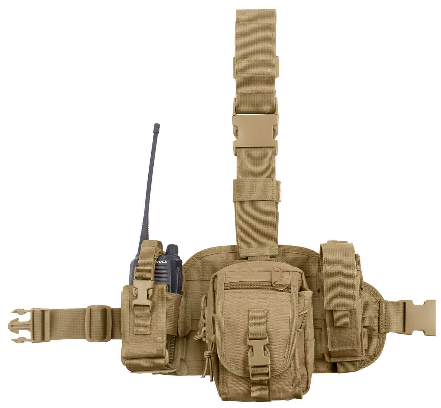 Tactical Drop Leg Utility Rig Modular Pouches Molle Coyote Brown redhco 11750