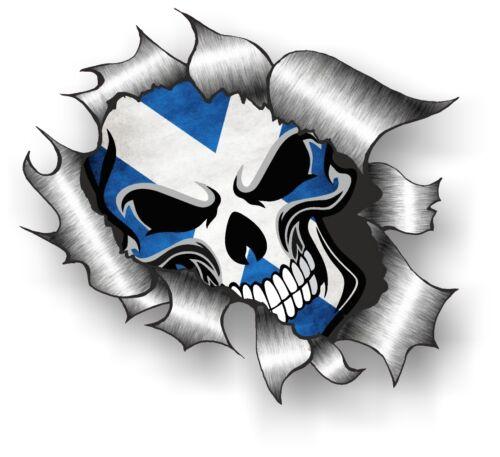 CLASSIC Ripped Torn Metal Gothic Skull /& Scot Scottish Saltire Flag car sticker
