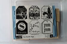 """Stampin Up Too Terrific Tags set of 6 """"Retired"""" Always, For You, Thank You, Yum"""