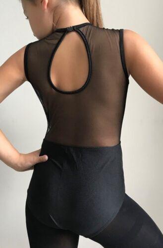 Leotard.Age 7-12 Years Black Gymnastic Contemporary UK Ballet Lyrical Dance