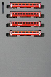 Kato-10-1414-Swiss-Alpine-Red-Passenger-Car-EW-I-4-Cars-Add-on-Set-N-scale