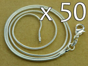 WHOLESALE-Lot-50x-High-Q-SILVER-SNAKE-CHAIN-NECKLACE-20inch-50cm-1-3-mm