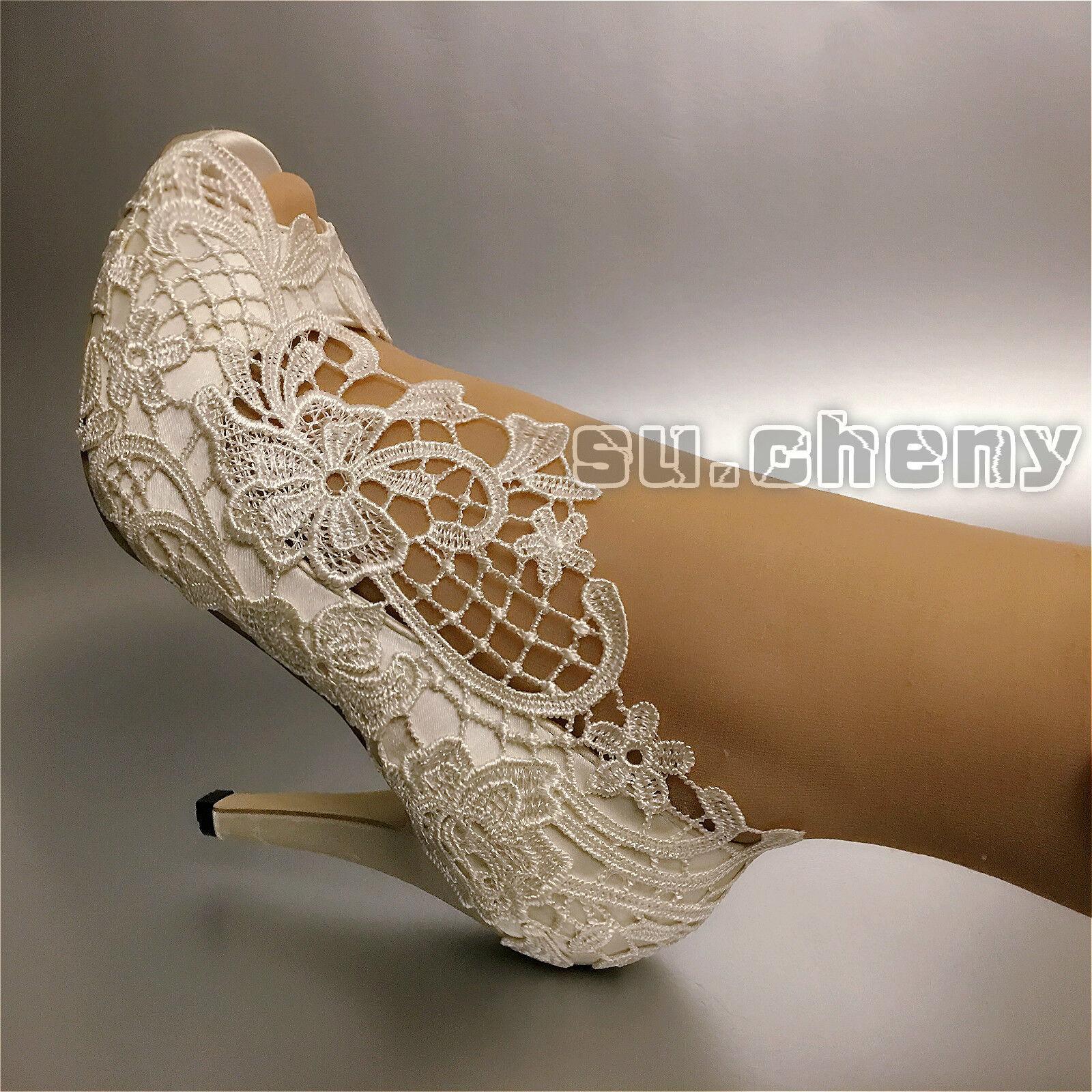 Su. Cheny 3 3 3  4  Seda Raso blancoo Marfil Bow Peep Zapatos Tacón Punta Abierta Boda Nupcial  opciones a bajo precio