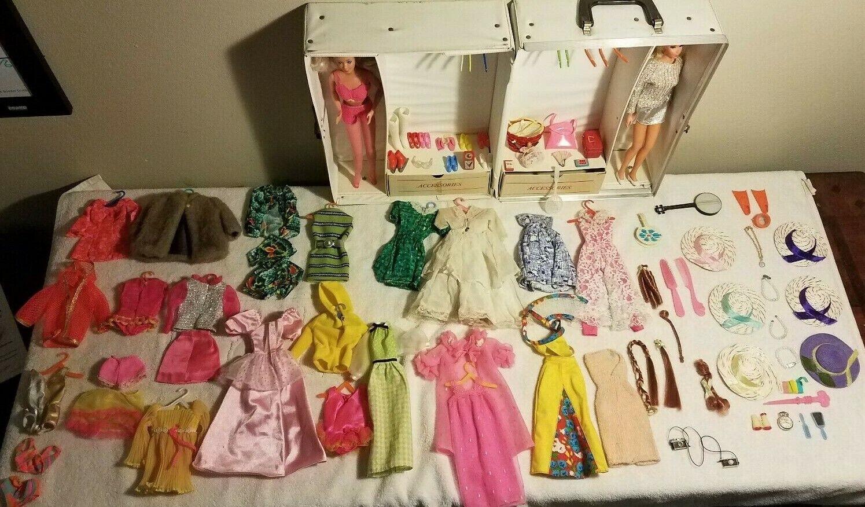 1968 BARBIE Doll Trunk, Vintage Clothes, Accesories & 2 Vintage Barbie Dolls