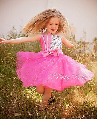Diamante Pink Formal Dress Wedding Flower Girl Bridesmaid Party Age 18m-8y FG268