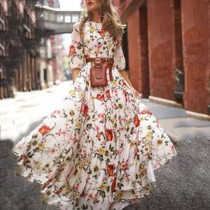 Women-Casual-Half-Sleeve-Boho-Dresses-Swing-Floral-Printed-Holiday-Maxi-Dress-CA