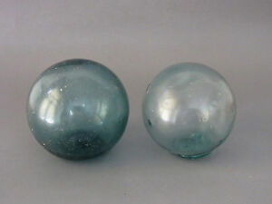 Pair of Beautiful Vintage Glass Fishing Float 3 2/8 - 3 6/8 inch
