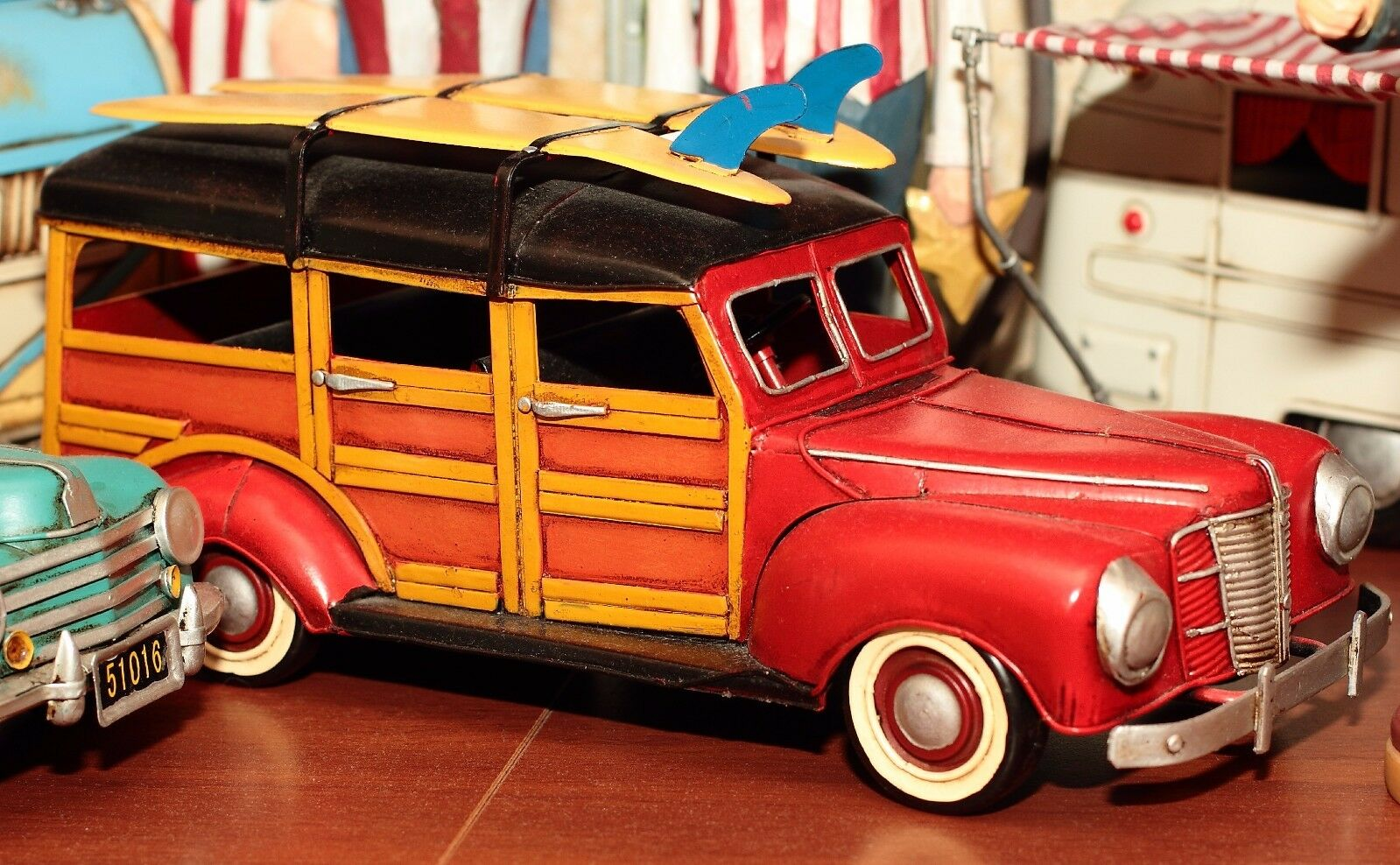 Ford Woody Surf Lata Hojalata Coche blechmodell Auto VOITURE Tole Hecho a Mano Réplica
