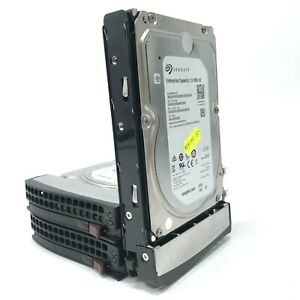 """3x Seagate Enterprise Capacity v5 3.5"""" SAS Hard Drives ST4000NM0125 w/ Caddies"""