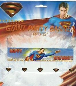Superman-034-Happy-Birthday-034-Party-Banner-152cm-x-30cm-Superman-Party-Supplies