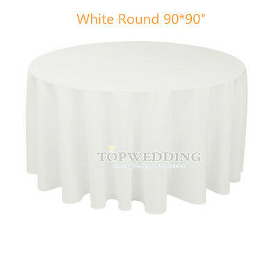 "90"" Round Satin White Tablecloths Wedding Party Banquet Seamless Table Cover New"