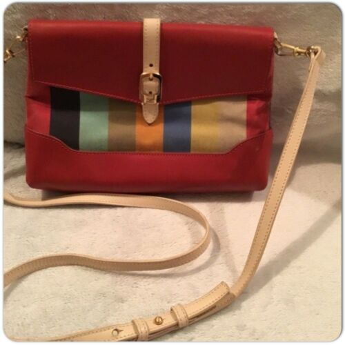 Gold Canvas Leather Cross Multi color Bag Fendi Body Red Tone Rayas Pequin S16g0w