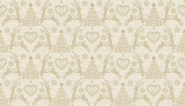 Per 1//4 Metre Makower Fabric Christmas Scandi 4 Set Reindeer Cream
