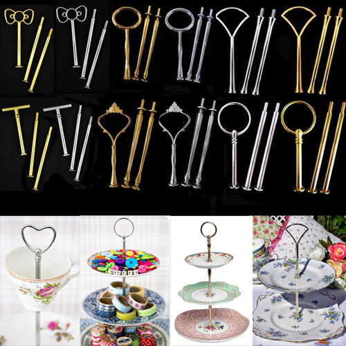 20Styles 3 Tier Cake Plate Stand Handle Silver Gold Wedding/Tea Party Decorating