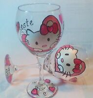Hand Painted Hello Kitty Wine Glass Including Free Personalization
