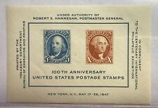 1947 100th Anniversary U.s Postage STAMPS MNH Souvenir Sheet in Display