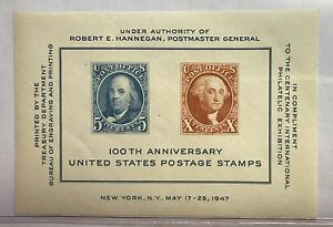 1947-100TH-ANNIVERSARY-U-S-POSTAGE-STAMPS-MNH-SOUVENIR-SHEET-IN-DISPLAY