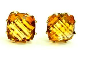 Classy Faceted Citrine Earrings Sterling Silver