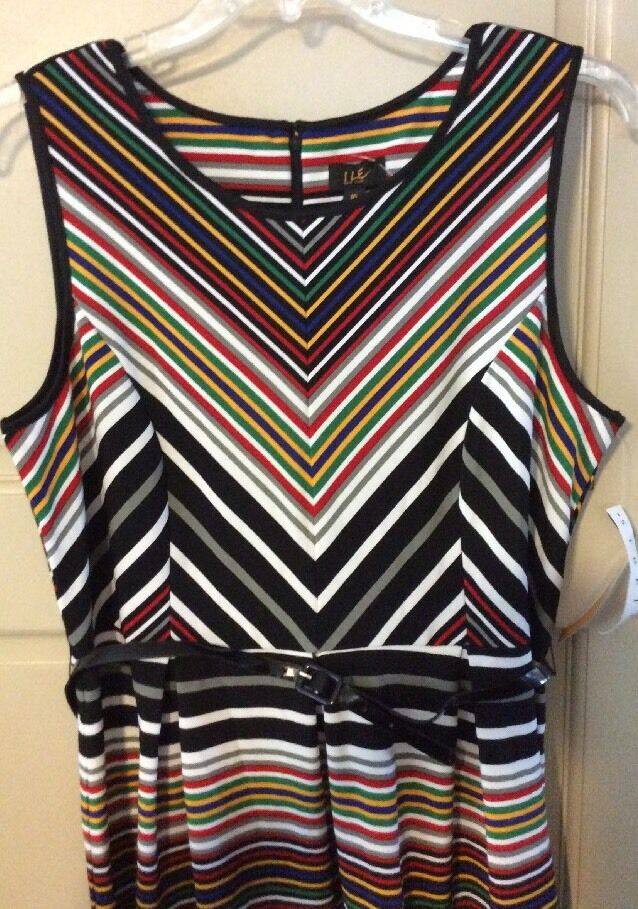 Women's New Multi color Chevron Pleated Dress16 Belt Rainbow 1X XL L  79 Summer