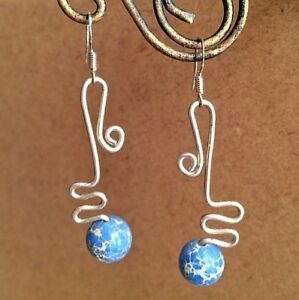 Hand crafted jewelry, Sterling Silver and Sediment Jasper dangling earrings