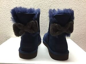 Image is loading UGG-MINI-BAILEY-KNIT-BOW-NAVY-WOMEN-BOOTS-