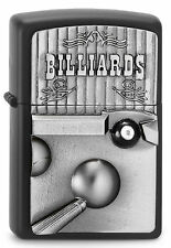 ZIPPO Feuerzeug BILLIARDS Black matte mit Emblem 3D Billiardkugel Queue NEU OVP
